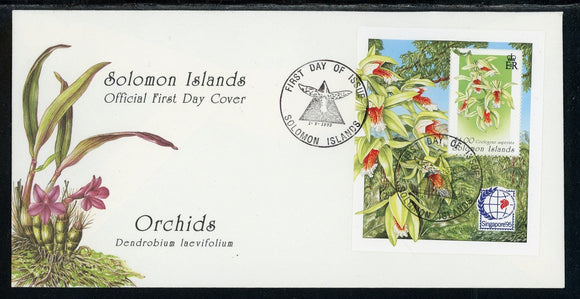 Solomon Islands Scott #808 FIRST DAY COVER Orchids FLORA Stamp EXPOS S/S $$