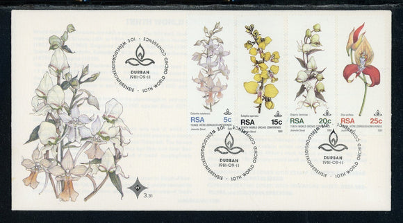 South Africa Scott #553-556 FIRST DAY COVER Durban Orchid Conference FLORA $$