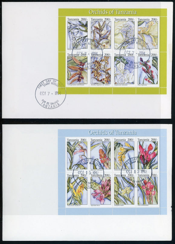 Tanzania Scott #1181-1182 FIRST DAY COVERS Orchids MINISHEETS FLORA $$