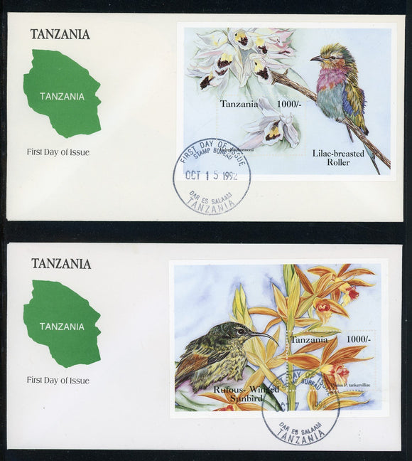 Tanzania Scott #1183-1184 FIRST DAY COVERS Orchids Souvenir Sheets FLORA $$