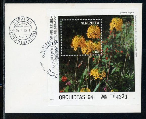Venezuela Scott #1509 FIRST DAY COVER Orchids Flowers FLORA S/S $$