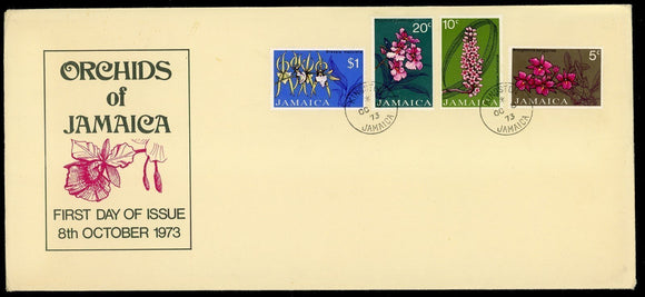 Jamaica Scott #375-378 FIRST DAY COVER Orchids Plants FLORA $$