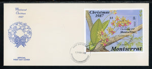 Montserrat Scott #662 FIRST DAY COVER Christmas 1987 Orchids FLORA S/S $$
