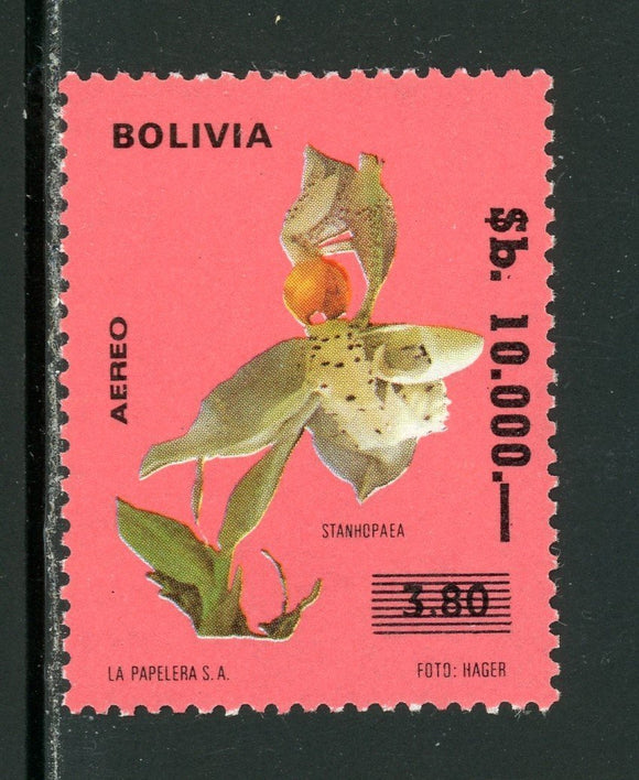 Bolivia Scott #704 MNH SCHG 10,000b on Orchid 2.80b CV$16+