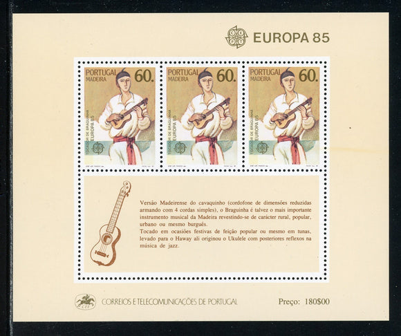 Madeira Scott #101a MNH S/S Europa 85 Guitar Player MUSIC CV$6+