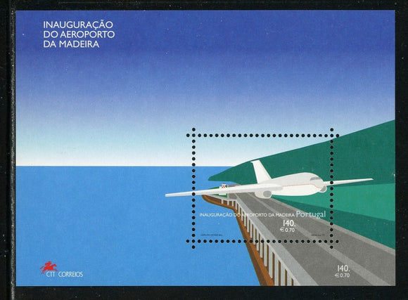 Madeira Scott #215a MNH S/S Airport AVIATION CV$5+