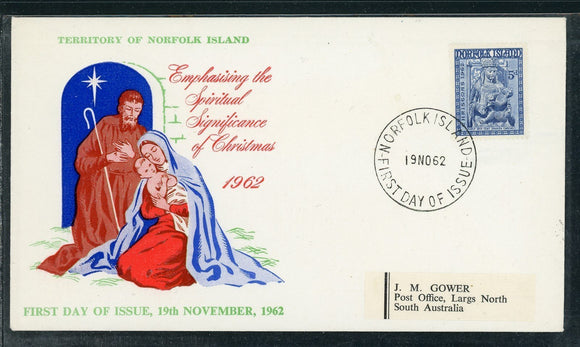 Norfolk Island Scott #45 FIRST DAY COVER Christmas 1962 $$