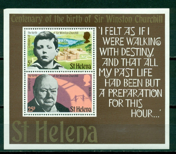 St. Helena Scott #286a MNH S/S Sir Winston Churchill Birth Centenary $$