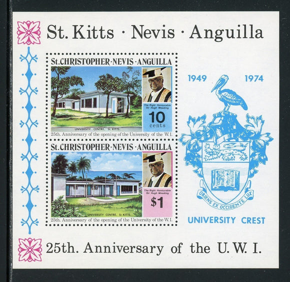 St. Christopher-Nevis-Anguilla Scott #285a MNH S/S University of West Indies $$