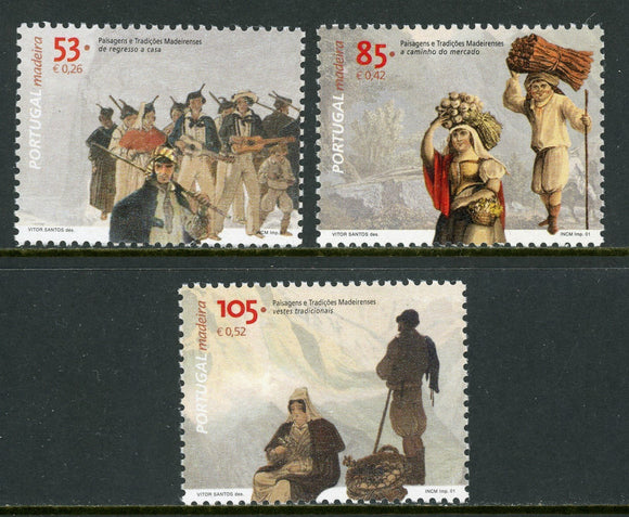 Madeira Scott #217-219 MNH Scenes of Traditional Life CV$3+