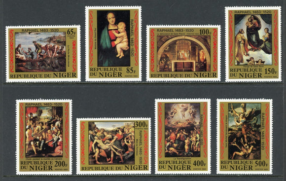 Niger Scott #614-621 MNH Rafael's 500th Birth ANN ART CV$13+