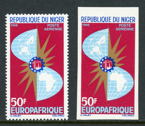 Niger Scott #C62-1 MNH Maps of Europe and Africa PERF IMPERF $$
