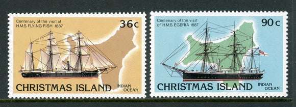 Christmas Island Scott #194-195 MNH Visiting Ships MAPS CV$2+
