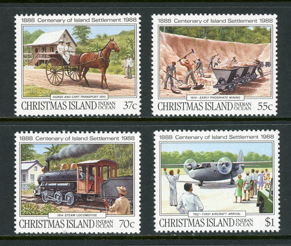 Christmas Island Scott #218-221 MNH Centenary of the Island's Settlement CV$6+