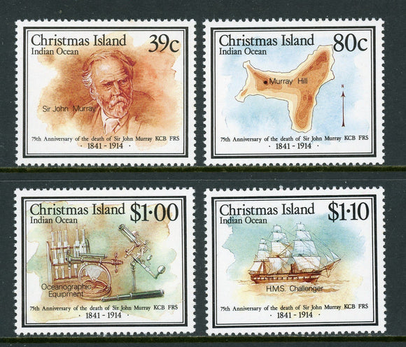 Christmas Island Scott #230-233 MNH John Murray Voyages SHIP MAP CV$5+