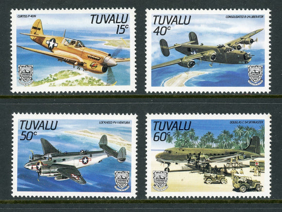 Tuvalu Scott #307-310 MNH WW II Aircraft AVIATION CV$7+