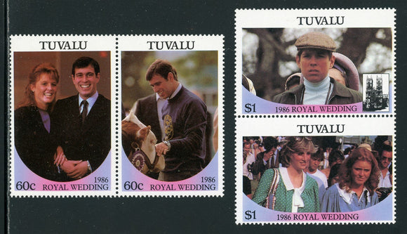 Tuvalu Scott #381-382 MNH PAIRS Prince Andrew and Miss Ferguson Wedding $$