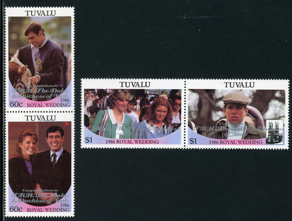 Tuvalu Scott #389-390 MNH PAIRS OVPT Congratulations to T. R. H. #2 CV$4+