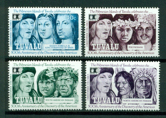 Tuvalu Scott #594-597 MNH Discovery of America 500th ANN CV$6+