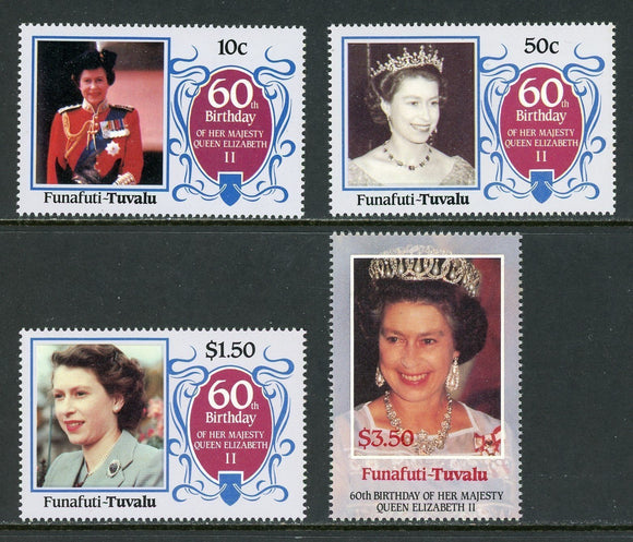 Tuvalu-Funafuti Scott #52-55 MNH Queen Elizabeth II 60th Birthday CV$4+