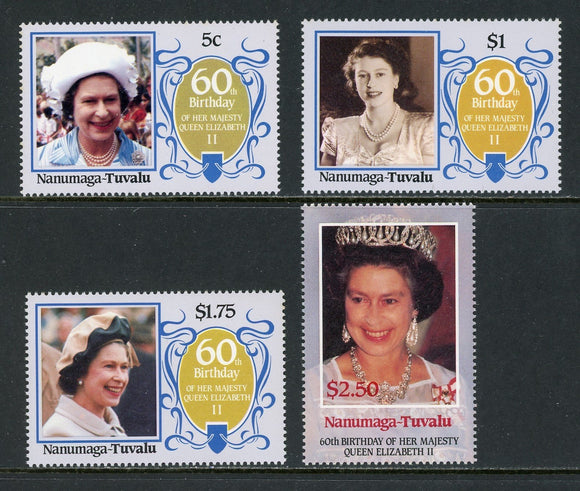 Tuvalu-Nanumaga Scott #52-55 MNH Queen Elizabeth II 60th Birthday CV$2+