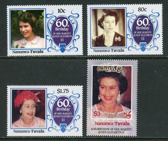 Tuvalu-Nanumea Scott #48-51 MNH Queen Elizabeth II 60th Birthday CV$2+