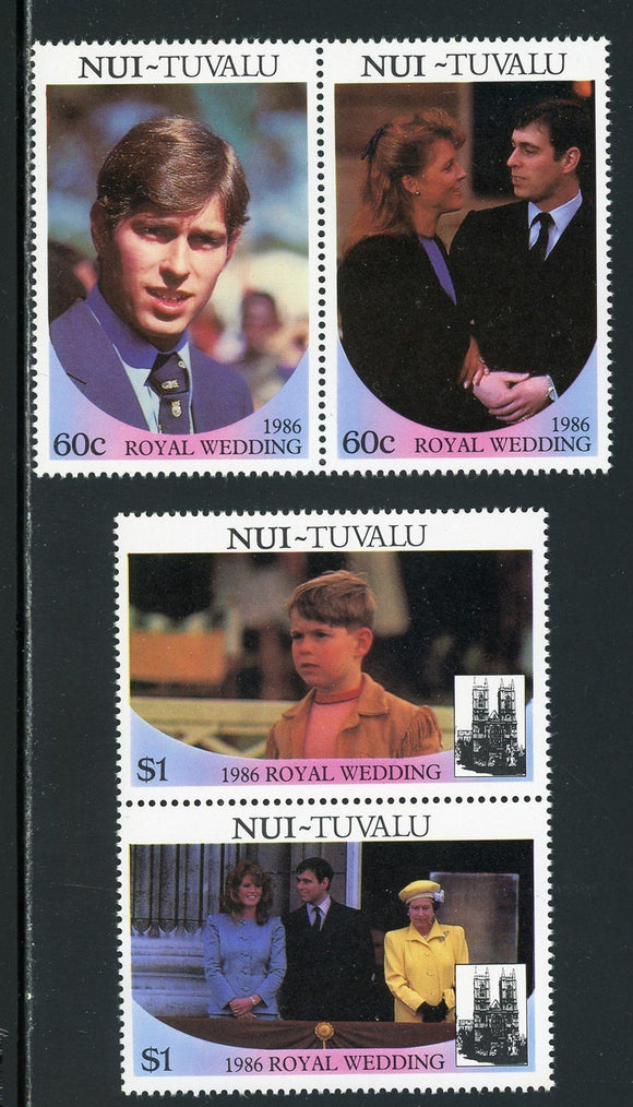Tuvalu-Nui Scott #63-64 MNH Prince Andrew and Miss Ferguson Wedding $$