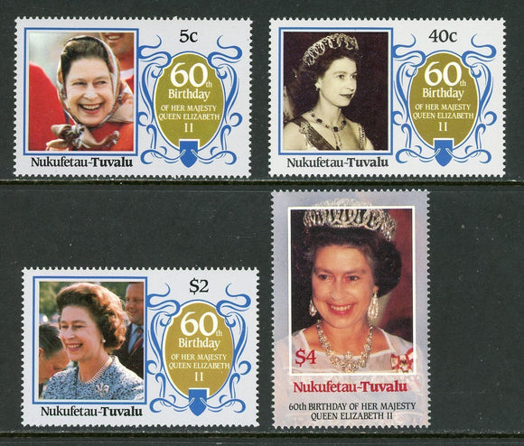Tuvalu-Nukufetau Scott #51-54 MNH Queen Elizabeth II 60th Birthday CV$2+