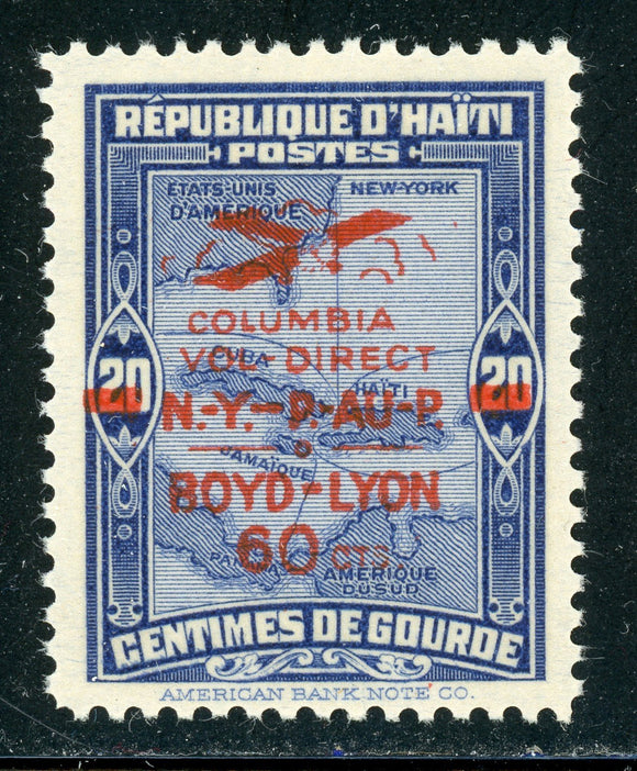 HAITI Air Post MH : Scott #C4A 60c/20c BOYD & LYON Flight MAP CV$75+