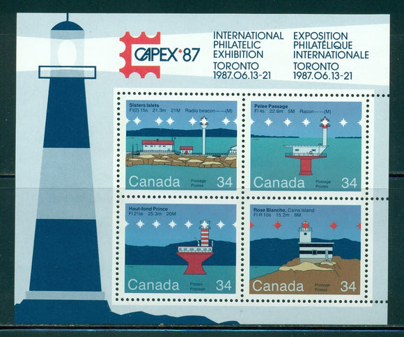 Canada Scott #1066b MNH S/S CAPEX '87 Stamp EXPO Light Houses CV$4+