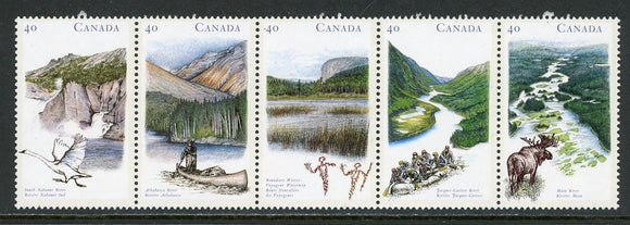 Canada Scott #1325a MNH STRIP Canadian Rivers 40c CV$3+