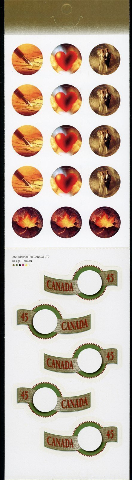 Canada Scott #1569a SA BOOKLET COMPLETE Greeting Stamps 10x45c + 15 LABELS CV$9+