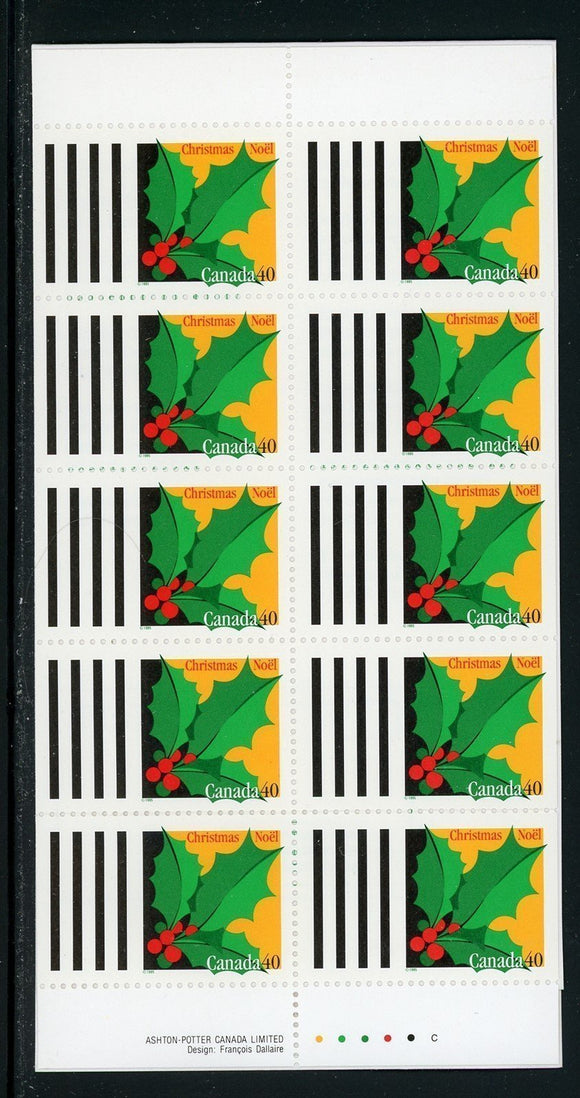 Canada Scott #1588a MNH BOOKLET COMPLETE Christmas 1995 Holly FLORA CV$7+