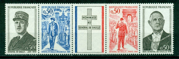 France Scott #1325a MNH STRIP Death of General de Gaulle 1st ANN CV$3+
