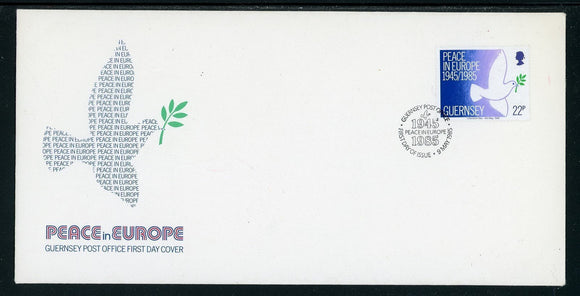 Guernsey Scott #313 FIRST DAY COVER Peace in Europe 40th ANN $$