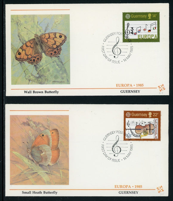 Guernsey Scott #314-315 FIRST DAY COVERS Europa 1985 MUSIC $$