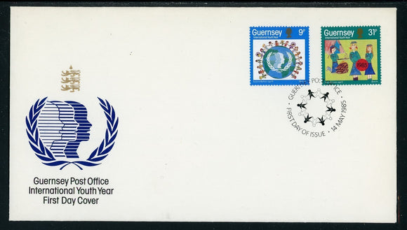 Guernsey Scott #316-317 FIRST DAY COVER International Youth Year 1985 $$