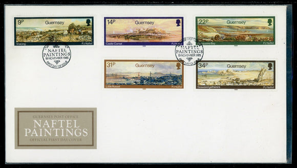 Guernsey Scott #320-324 FIRST DAY COVER Naftel Paintings ART $$