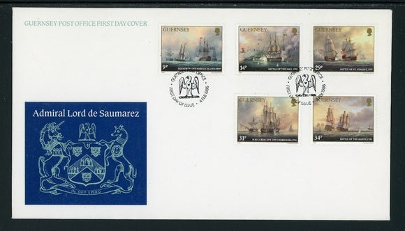 Guernsey Scott #325-329 FIRST DAY COVER Admiral Lord de Saumarez SHIPS $$