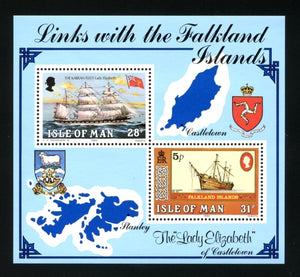 Isle of Man Scott #259 MNH S/S Manx Ties with Falkland Islands SHIPS CV$2+