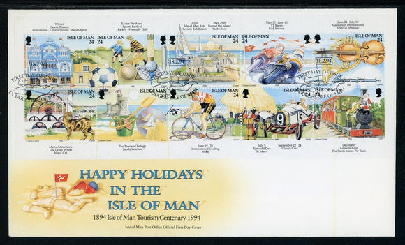 Isle of Man Scott #586a FIRST DAY COVER Holidays on the Isle of Man $$
