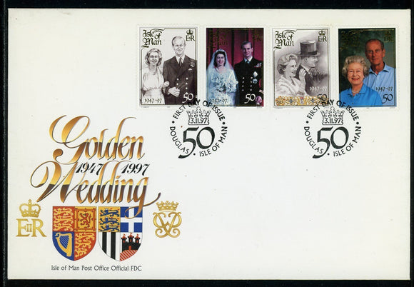 Isle of Man Scott #761 FIRST DAY COVER Queen Elizabeth Prince Philip 50th ANN $$