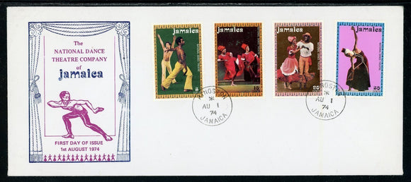 Jamaica Scott #383-386 FIRST DAY COVER Jamaican Dancers MUSIC $$