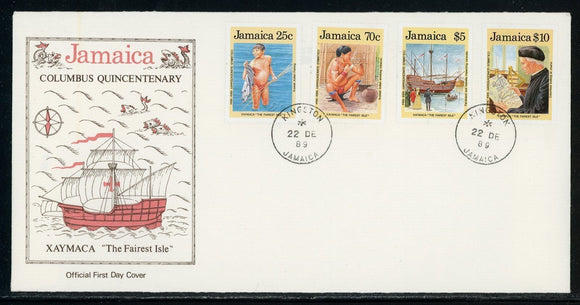 Jamaica Scott #717-720 FIRST DAY COVER Discovery of America 500th ANN $$