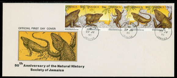 Jamaica Scott #751 FIRST DAY COVER Natural History Society STRIP FAUNA $$