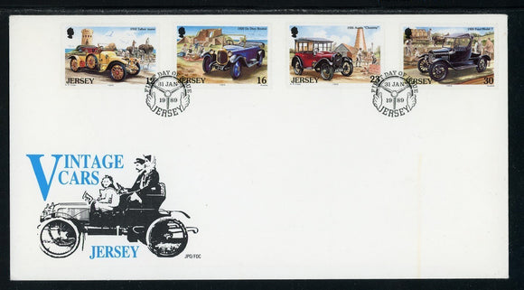 Jersey Scott #471-474 FIRST DAY COVER Classic Automobiles CARS $$