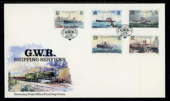 Jersey Scott #522-526 FIRST DAY COVER Great Western Railway Steamships SHIPS $$
