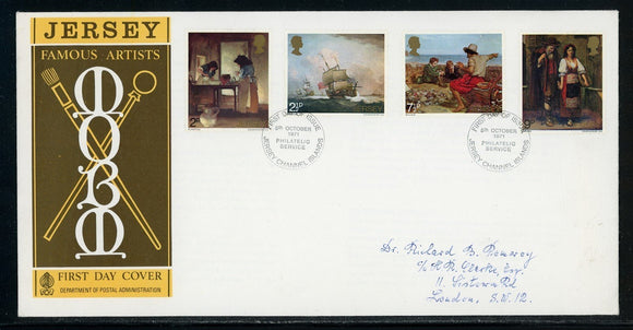 Jersey Scott #57-60 FIRST DAY COVER Famous Jersey Artists ART $$