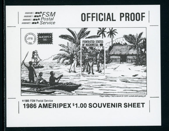Micronesia Scott #C25 MNH PROOF AMERIPEX '86 Stamp EXPO $$