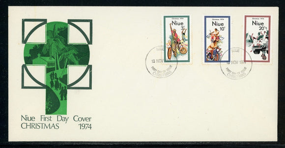 Niue Scott #171-173 FIRST DAY COVER Christmas 1974 $$